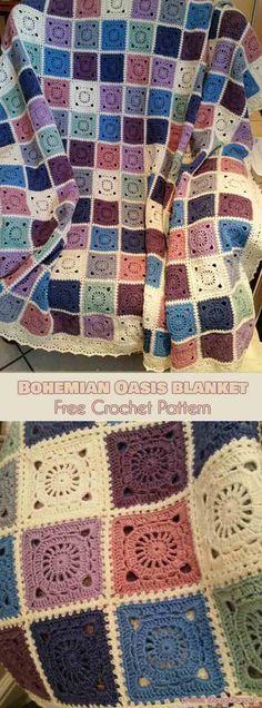 Bohemian Oasis Blanket Free Crochet Pattern #freecrochetpatterns #crochetblanket