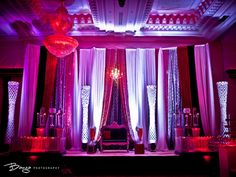 gorgeous red, pink and purple mandap design - indian desi wedding stage decorations by diya decor (diyadecor.com)
