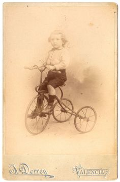 1903 Signed Cabinet Card Photo / Boy Riding a GORGEOUS by UCRONIA, €60.00