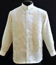 Ivory Barong Tagalog - Barongs R us - Barongs R us Barong Tagalog, Filipiniana Dress, Philippines Fashion, Mocha Color, First Communion Dresses, Line Shopping, Formal Looks, Groom And Groomsmen, Embroidery