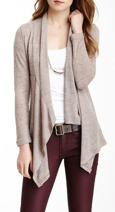 Open Front Cardigan - love it with the wine coloured skinny jeans