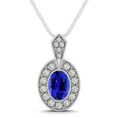 .18ct Oval Tanzanite Pendant With .144ctw Diamonds in 14k White Gold