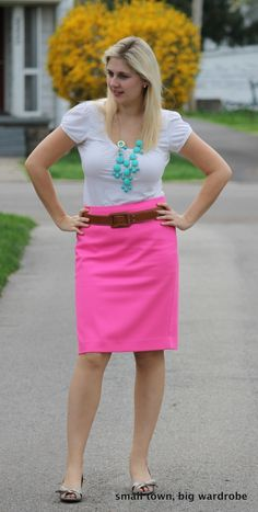 Aqua necklace with neon pink skirt.  Possible spring color combo