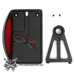 46,96€ - ENVÍO GRATIS - Soporte de Matrícula Moto con Luz de Freno para Eje de Rueda Chopper Harley Color Negro
