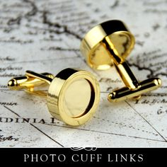 Gold cuff links. Remove the cover and place your image inside. So easy and they're so beautiful! Click through to purchase.