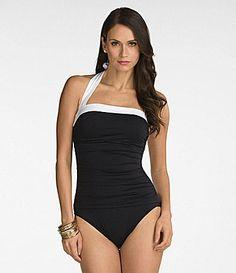 1d5829d56c84b Lauren Ralph Lauren Bel Aire Shirred Halter Bandeau OnePiece Swimsuit   Dillards