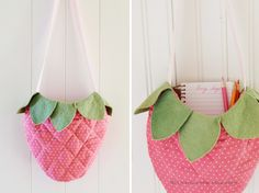 Berry bag // would be a cute wall hanging 'folder' for needles/thread/utensils.