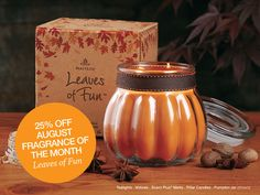 #PartyLite August Fragrance of the Month, Leaves of Fun. See all forms here - http://www.partylite.com/en-us/Pages/hostaparty/guestoffers.aspx