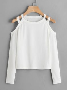 White T Shirt Women Cold Shoulder Ribbed Tee Shirt Femme 2019 Autumn Clothing Casual Ladies Tops Long Sleeve Shirts White XL Fashion Mode, Teen Fashion Outfits, Mode Outfits, Fall Outfits, Crop Top Outfits, Cute Casual Outfits, Long Sleeve Tops, Long Sleeve Shirts, Smoking