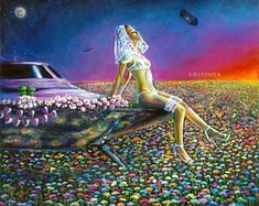 Giclee print on canvas hand-embellished with acrylic paint, alien bride portrait, ufo spaceship art Acrylic Painting Canvas, Canvas Art Prints, Framed Art Prints, Surrealism Painting, Pop Surrealism, Alien Girl, Spaceship Art, Unique Paintings, Psychedelic Art