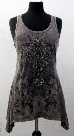 Vocal Womens Browntank Top Racer Back Shirt Cross Rhinestones Gothic New | eBay