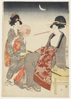 """""""Two Women, One with a Pipe Kitagawa Utamaro Japan, Edo period, ca. ink and color on paper """" Japanese Artwork, Japanese Painting, Japanese Prints, Art Asiatique, Portraits, Japan Art, Elements Of Art, Woodblock Print, Chinese Art"""