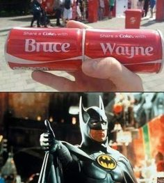 Great now I want a Coke. but, why is there an image of batman there? are you saying batman is Bruce Wayne? Nightwing, Batwoman, Batgirl, Marvel Vs, Marvel Dc Comics, Dc Memes, Funny Memes, Hilarious, Univers Dc