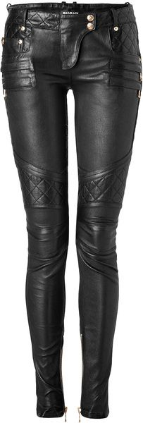Balmain. I'm in love with Balmain pants. I love the idea of different kinds of leather sewn together.