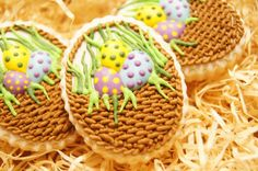 Hand decorated handmade EASTER EGGS BASKET cookies by SugaryCharm, $32.00