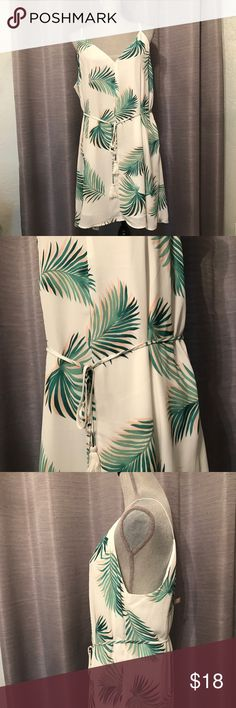 Palm leaves dress Gorgeous. Brand new without tags. Took with me for vacation and never wore it. Adjustable tie waist. Low cut, so would be perfect over a bralette. Forever 21 Dresses Mini
