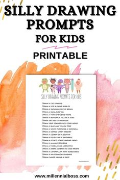 Use this silly drawing prompts for kids printable to start a new drawing habit or to have a sillier day filled with drawing and crafts!