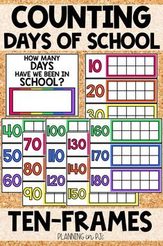 """Count the Days of School using ten frames!  Count up to the 100th day, or all the way to the end of the year - days go up to 180.  Also includes """"How Many Days Have We Been in School?"""" sign - use a dry erase marker to fill in the number of days! When using in the classroom I have the students add themed stickers each day! You could also laminate and have them use a dry erase marker, to be able to re-use each year. Month Labels, Calendar Activities, Classroom Calendar, How Many Days, School Signs, Ten Frames, School Events, Dry Erase Markers, 100th Day"""