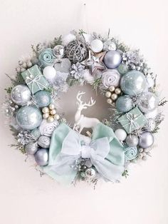 Chistmas Wreath Silver Light Mint Winter Decor Front Door Wreath Chistmad Decoration Luxury Winter Wreath New Year Gift Silver Christmas, Christmas Candles, Handmade Christmas, Elegant Christmas, Merry Christmas Pictures, Merry Christmas Wallpaper, Wallpaper Natal, Christmas Tree Inspiration, Christmas Crafts
