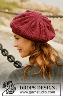 "Knitted DROPS beret with lace pattern in ""Alaska"". ~ DROPS Design"