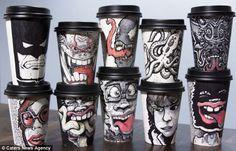 Miguel Cardona is an artist who has chosen to create his masterpieces on coffee cups, resulting in some amazing coffee cup art and a great way to help charity. Take Away Coffee Cup, Coffee Cup Art, Coffee Cup Design, Coffee Shop, Coffee Mugs, Disposable Coffee Cups, How To Make Coffee, Coffee Drinkers, Dinners For Kids
