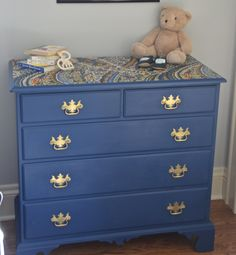 dresser turned changing table... chalk paint and a fabric topper www.ciburbanity.com
