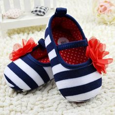 Blue & White Striped Flower Shoes