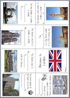Ein Pocket Book oder Mini Book für den Englischunterricht in der Grundschule mit den berühmtesten Sehenswürdigkeiten Londons: Hier ...