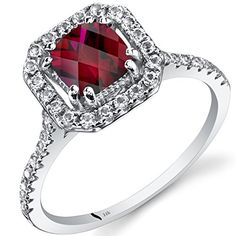 14K White Gold Created Ruby Cushion Cut Halo Ring 100 Carats Size 6 >>> Check out the image by visiting the link.Note:It is affiliate link to Amazon. #comment