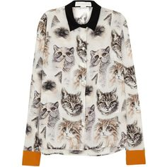Stella McCartney Wilson cat-print silk shirt ($630) ❤ liked on Polyvore featuring tops, silk tops, multi color tops, cat shirt, cat top and multi colored shirt