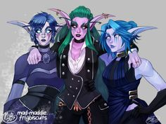 My night elf hunter Shaadren Sharpthorn (middle), her Death Knight SO Sylass Winterblind (left) and trash-mouth friend Telani Mistpeak (right) in their outfits for this year's Tournament of Ages ball on Moon Guard!  outfits: left | middle | right