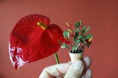 Anthurium andreanum scale 1:12 made of paper
