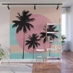 Hello California - Ocean Breeze Wall Mural by silverpegasus Beach Wall Murals, Tree Wall Murals, Mural Wall Art, Ocean Mural, Wall Painting Decor, Wall Decor, Garden Mural, Boutique Decor, Dream Wall