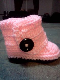 My Own Pink Button Ugg Boots. I used the Pattern from http://allaboutami.tumblr.com/post/31922998270/babybuttonboots