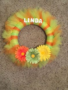 Personalized Spring Tulle Wreath