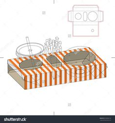 Fast Food Tray Box With Die Cut Template Stock Vector Illustration 350066132 : Shutterstock