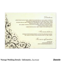 Vintage Wedding Details - Information Cards Elegant vintage flourishes wedding information card with wedding details, such as wedding directions, wedding accommodations, dress style, registry etc.