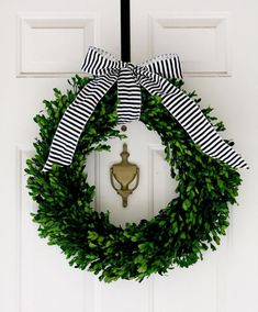 Boxwood Christmas Wreath with Black and White Ribbon The Pink Pagoda: Christmas Wreaths