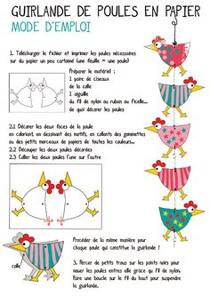 Easter İdeas 503347695833597593 - Chicken garland would make a cute Easter/spring project/ Website great.in French but translates to English if needed, Source by selalisal Spring Projects, Spring Crafts, Diy With Kids, Easter Crafts, Crafts For Kids, Chicken Crafts, Chickens And Roosters, Mobiles, Art Lessons