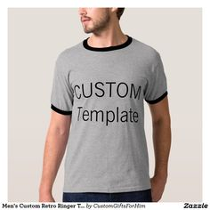 8cd6ecd0 Men's Custom Retro Ringer T-Shirt GRAY & BLACK Silver T Shirts, Baseball