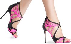 Spectacular Neon Two-Tone Casadei Evening Sandals
