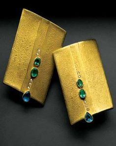 Gold Earrings With Paraíba Tourmalines And Champagne Diamonds Michael Zobel Gems Jewelry Art