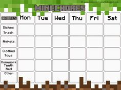 Minecraft Chore Chart | Free Minecraft Chore Chart & Award System with Printables