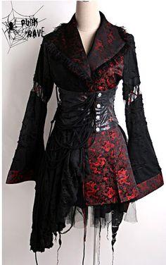 Veste kimono noire et rouge avec serre taille gohique Q-093BR