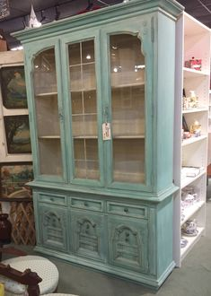 Thomasville china cabinet makeover redo! Chalk painted aqua blue/turquoise, mixture of Annie Sloan duck egg, Provence, Florence, Antibes green, old white. Shabby chic sweet. For sale at High Street Antique Mall, Plano, Texas.