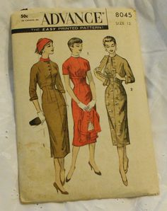 Advance 8045 Wiggle Dress Vintage 1950s Sewing Pattern Size 12 Bust 30. $32.00, via Etsy.