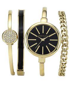 Anne Klein Women's Interchangeable Gold-Tone Bangle Bracelets 32mm AK-1470GBST - Women's Watches - Jewelry & Watches - Macy's
