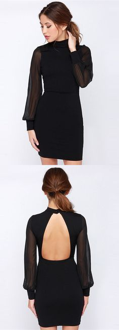 Stand Collar Chiffon Sleeve Backless Dress
