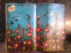 Beautiful art journal spread that really pops!