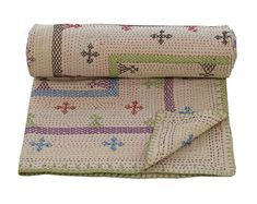 Solid Colour Kantha Bedspread Queen Size Embroidered Quilt